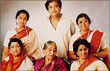 with mother, sisters Lata,Usha, Meena and brother Hridaynath